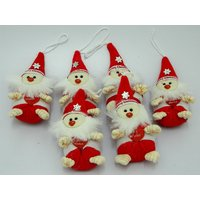 Christmas Tree Decoration Santa Set Of 6 Red