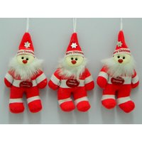 Christmas Tree Decoration Santa Set Of 3 Red
