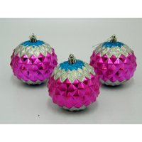 Cristmas Tree Decor Decorative Balls Set Of 3 Pink