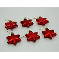 Christmas Tree Decorative Star Set Of 6 Red