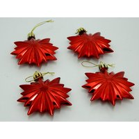 Christmas Tree Decorative Star Set Of 4 Red