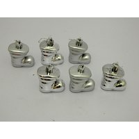 Christmas Tree Decorative Anta Shoe Set Of 6 Silver