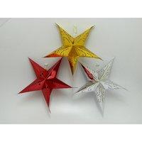 Christmas Tree Decorative Star Hanging Set Of 3 Medium