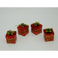Christmas Tree Decoration Accessories Set Of 4 Red