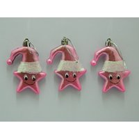 Christmas Tree Decoration Cute Star Set Of 3 Pink