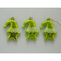 Christmas Tree Decoration Cute Star Set Of 3 Green