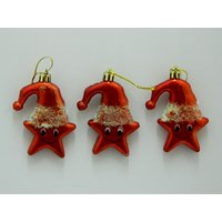 Christmas Tree Decoration Cute Star Set Of 3 Red