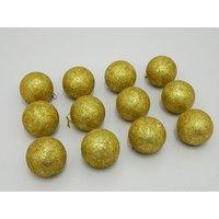 Christmas Tree Decorative Balls Set Of 12 Gold