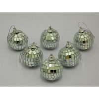 Christmas Tree Decorative Hanging Balls Set Of 6 Silver