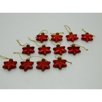 Christmas Tree Decoraive Cute Stars Set Of 12 Red