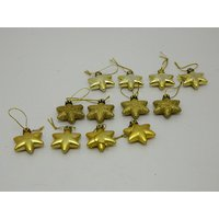 Christmas Tree Decoraive Cute Stars Set Of 12 Gold