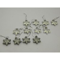 Christmas Tree Decoraive Cute Stars Set Of 12 Silver