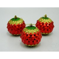 Cristmas Tree Decor Decorative Balls Set Of 3 Red