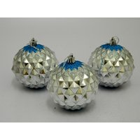 Cristmas Tree Decor Decorative Balls Set Of 3 Silver