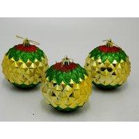 Cristmas Tree Decor Decorative Balls Set Of 3 Gold
