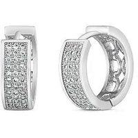 Mahi Rhodium Plated Triple Line Pave Earrings With Cz For Women Er1100594R