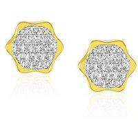 Mahi Gold Plated Hexagonal Geometric Earrings With Cz For Women Er1190153G