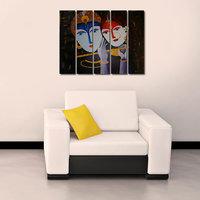 Shri Krishna Like Modern Wall Art Painting - 5 Frames (148 X 76 Cms) 5Frames0001