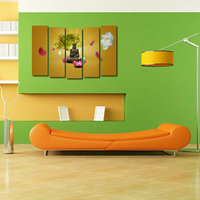 Buddha Like Modern Wall Art Painting - 5 Frames (148 X 76 Cms) 5Frames0012
