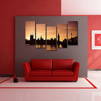 Modern City Like Modern Wall Art Painting - 5 Frames (148 X 76 Cms) 5Frames0065