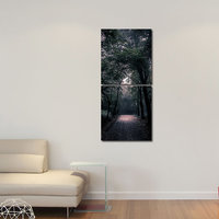 Road In Forest Modern Wall Art Painting -2 Frames (76x25 Cm) 2Frames0025