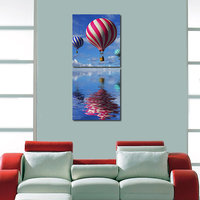 Baloon In The Sky Wall Art Painting -2 Frames (76x25 Cm) 2Frames0031