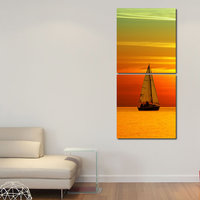 Boat In River Wall Art Painting -2 Frames (76x25 Cm) 2Frames0050