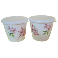 Czar Dine Smart Pink Flower Design 2 Pcs. Storage Jar With Cover