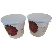 Czar Dine Smart  Single Red Flower Design 2 Pcs. Storage Jar With Cover