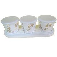 Czar Dine Smart Golden Flower Design 3 Jar Set  With Cover And Tray