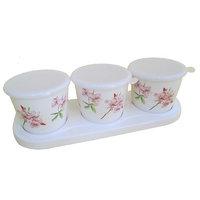 Czar Dine Smart Pink Flower Design 3 Jar Set With Cover And Tray