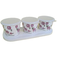 Czar Dine Smart Sunflower Design 3 Jar Set With Cover And Tray