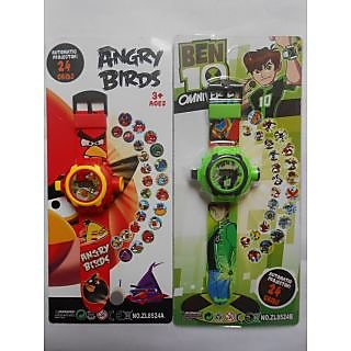 Set Of Ben 10 & Angry Birds Kids Projector Watches 10 Image Projection Combo