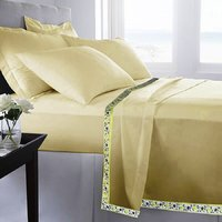 Set Of 2 100% Cotton Beige Color Single Bed Sheet Cum Top Sheet