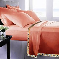 Set Of 2 100% Cotton Peach Color Single Bed Sheet Cum Top Sheet