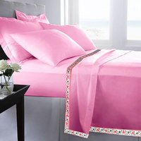 Set Of 2 100% Cotton Pink Color Single Bed Sheet Cum Top Sheet