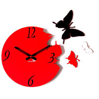 Panache Beautiful Butterfly Wall Clock Red And Black