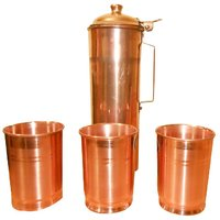 Copper Fridge Bottle With Set Of 3 Copper Glasses