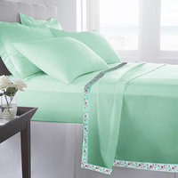 Set Of 2 100% Cotton Seagreen Color Single Bed Sheet Cum Top Sheet