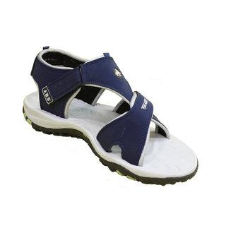 ABS Men's Grey & Blue 3 Strap Sandals
