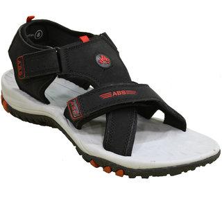 ABS Men's Grey & Red 3 Strap Sandals