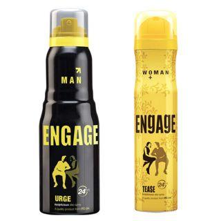 Engage  Deo (Urge, Tease) Pack Of 2- 165ml Each  Men--  Women
