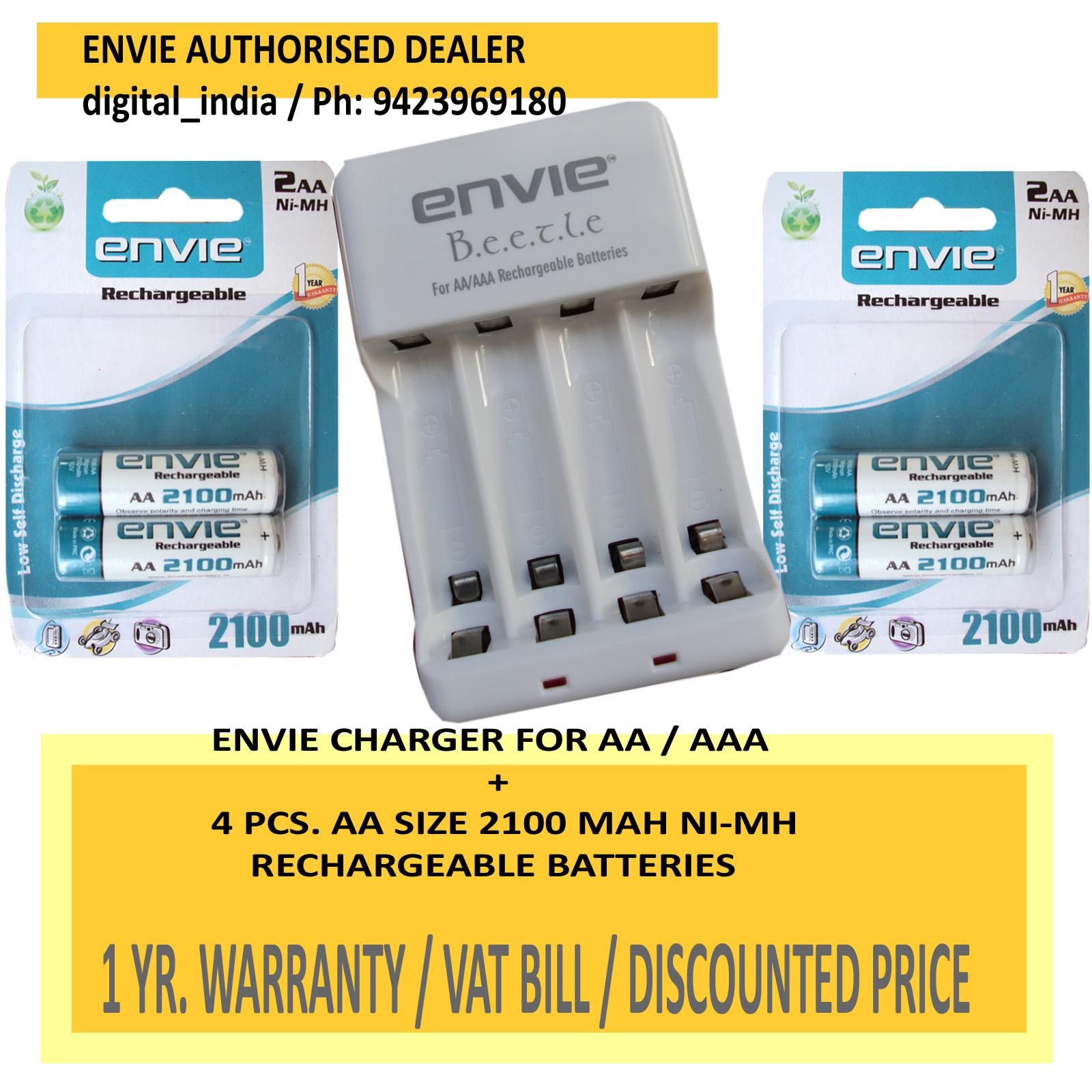 AA RECHARGEABLE BATTERY 2100 MAH 1.2 V NIMH 4 PCS. + ECR20 CHARGER FOR AA/AAA