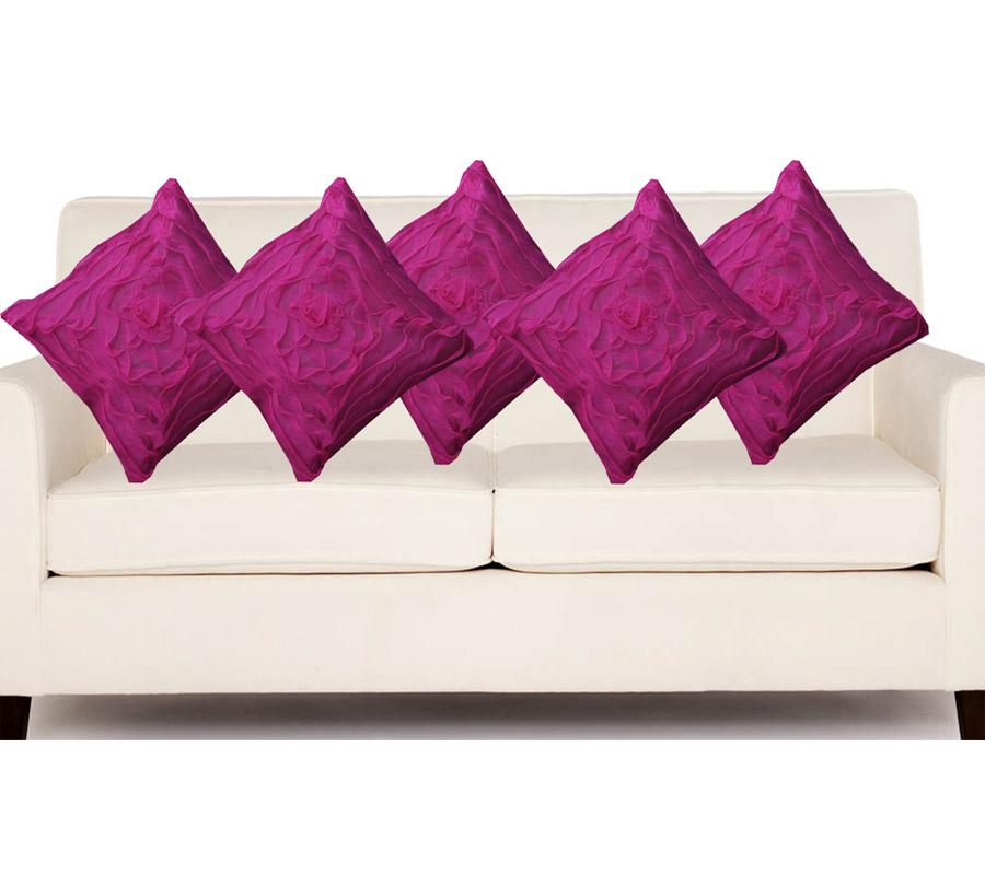 Hard Rock Set Of 5 Attractive Rose Design Cushion Cover-purple