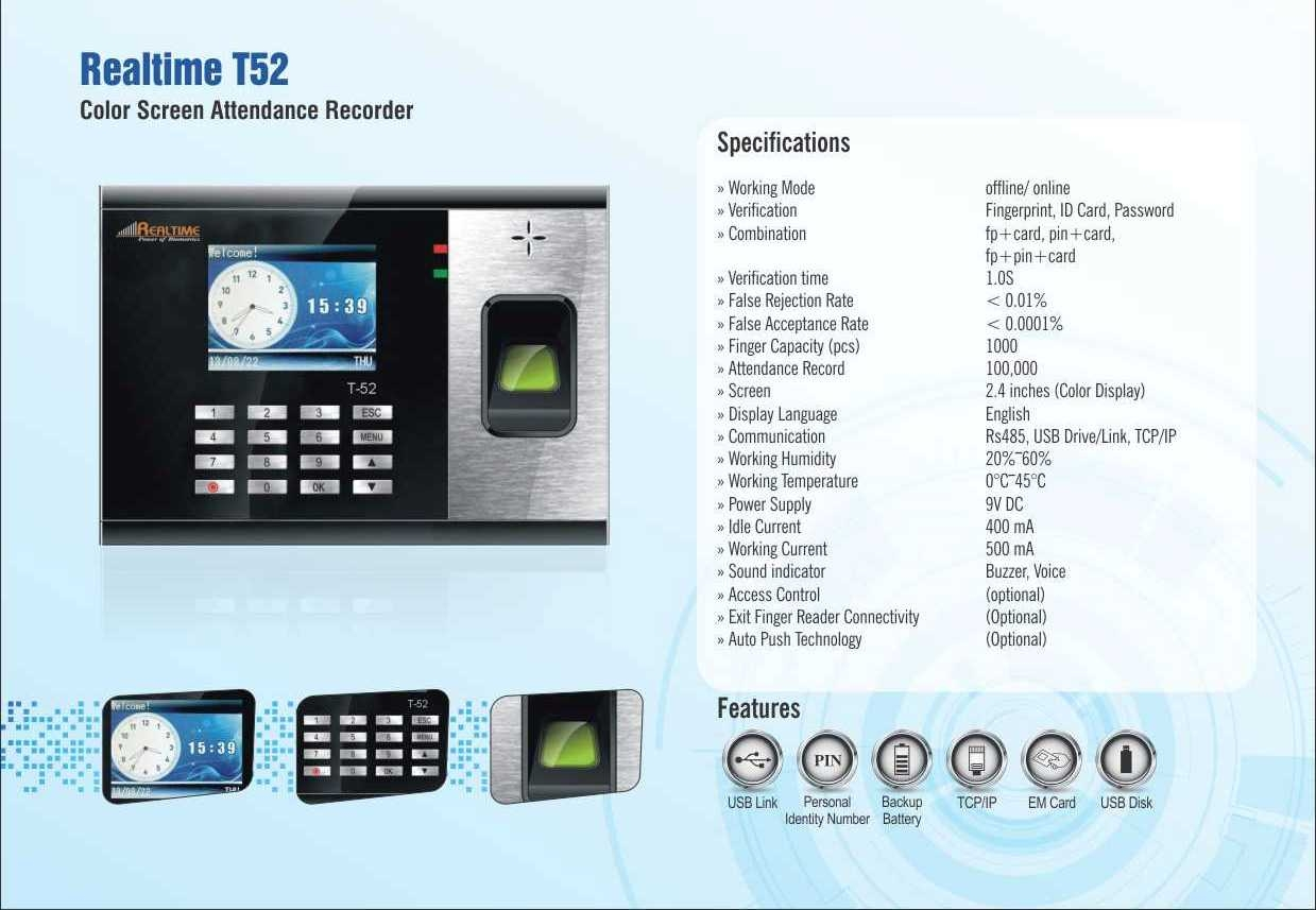 RealTime T52 BIiometric Time &