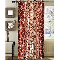 Blossom Rust & Cream Floral Vine Design Door Curtain