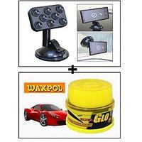 Vheelocity Car Sticky Pad Mobile Holder + Waxpol Ultra Glo Polish With Uv Guard 100Gms