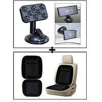 Vheelocity Car Sticky Pad Mobile Holder + Car Wooden Bead Seat Cushion With Black Velvet Border