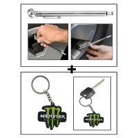 Vheelocity Car Auto Tire Tyre Pressure Gauge For All Cars And Bikes + Rubber Monster 'M' Keychain/Keyring For Bike/Car