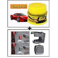 Vheelocity Waxpol Ultra Glo Polish With Uv Guard 100Gms + Foldable Car Drink / Can / Glass / Bottle Holder - Grey
